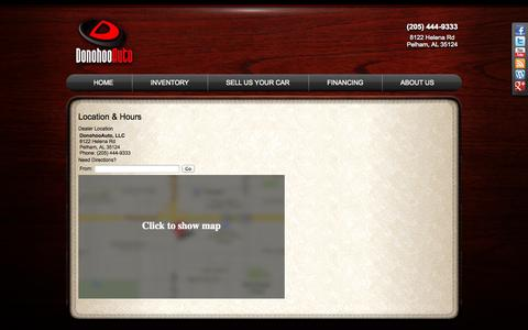 Screenshot of Maps & Directions Page donohooauto.com - Hours and Location DonohooAuto, LLC-Birmingham, AL - captured Sept. 26, 2014