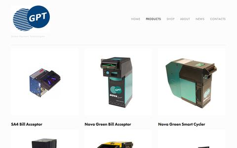Screenshot of Products Page gpta.com.au - Products — Global Payment Technologies - captured Oct. 2, 2014