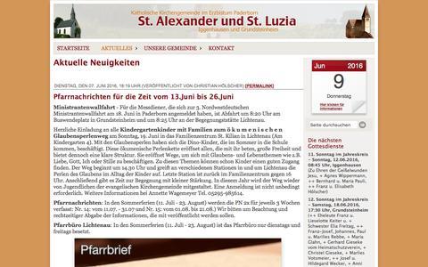Screenshot of Press Page st-alexander-iggenhausen.de - Katholische Kirchengemeinde St. Alexander, Iggenhausen - Neuigkeiten - captured June 8, 2016