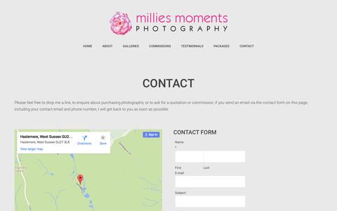 Screenshot of Contact Page milliesmoments.com - Contact - Millies Moments - captured Feb. 13, 2016