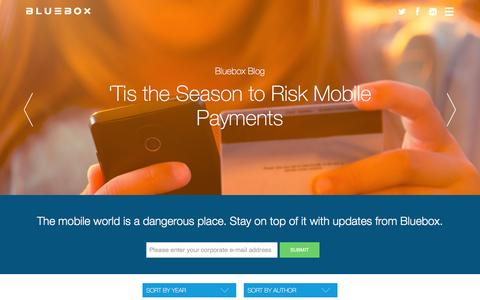 Screenshot of Blog bluebox.com - Mobile Security Blog - Bluebox Security - captured Feb. 7, 2016