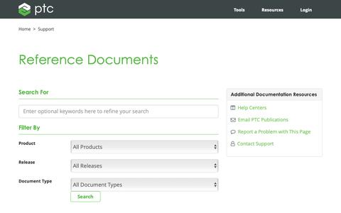 Screenshot of Support Page ptc.com - Reference Documents | PTC - captured Nov. 13, 2018