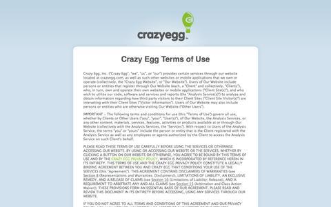 Screenshot of Terms Page crazyegg.com - Crazy Egg Terms of Use - captured Jan. 19, 2017