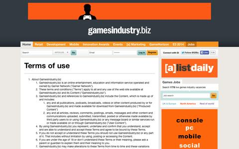Screenshot of Terms Page gamesindustry.biz - Terms and Conditions   GamesIndustry.biz - captured Sept. 18, 2014