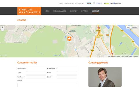 Screenshot of Contact Page sinnigemakelaardij.nl - Contact - Sinnige Makelaardij Haarlem - captured Oct. 9, 2014