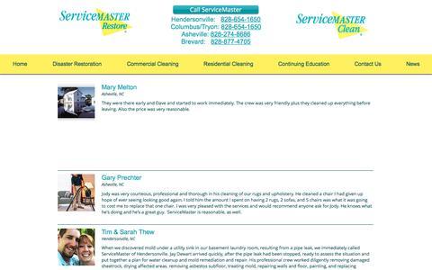 Screenshot of Testimonials Page smhville.com - Testimonials for ServiceMaster of Hendersonville - captured Oct. 12, 2017