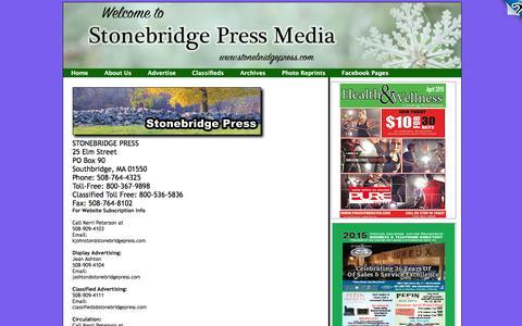 Screenshot of About Page stonebridgepress.com - Contact Us - captured Jan. 12, 2016