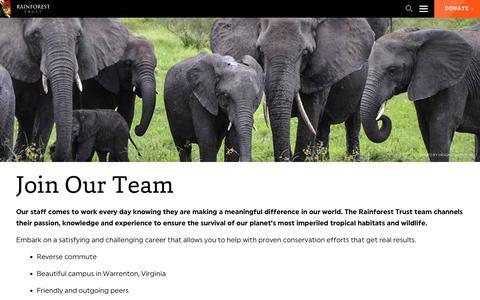 Screenshot of Jobs Page rainforesttrust.org - Join Our Team - captured June 14, 2017