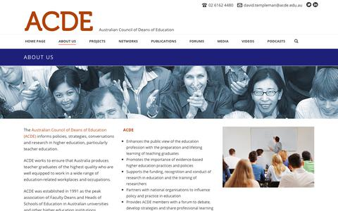 Screenshot of About Page acde.edu.au - About the ACDE | ACDE - captured May 3, 2018