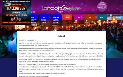 Screenshot of About Page londongroove.co.uk - About - captured Oct. 28, 2014