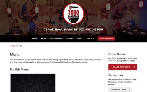 Screenshot of Menu Page toronoodlebar.co.uk - Menu | Toro Noodle Bar - captured Aug. 19, 2016