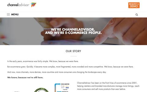 Screenshot of About Page channeladvisor.com - E-commerce leader helping retailers sell more products online. – ChannelAdvisor - captured Oct. 25, 2016
