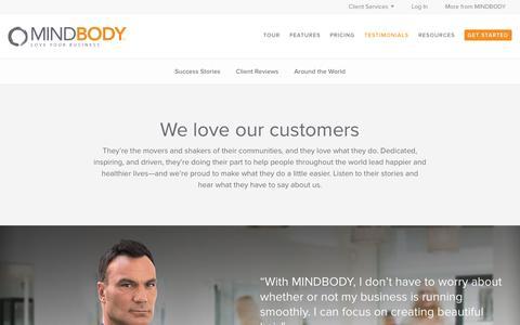 Screenshot of Testimonials Page mindbodyonline.com - MINDBODY: Clients - captured Sept. 16, 2014
