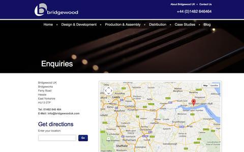 Screenshot of Contact Page bridgewooduk.com - Contact Bridgewood UK - captured Sept. 30, 2014