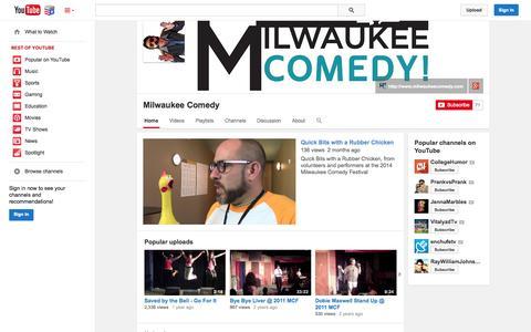 Screenshot of YouTube Page youtube.com - Milwaukee Comedy  - YouTube - captured Nov. 5, 2014