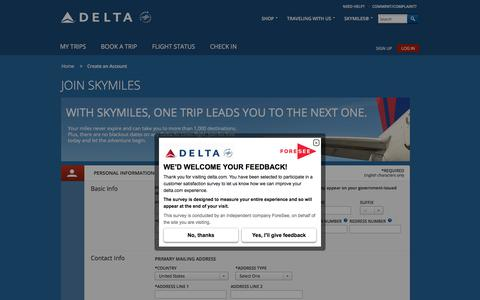 Screenshot of Signup Page delta.com - Join SkyMiles® Loyalty Program : Delta Air Lines - captured Oct. 20, 2017