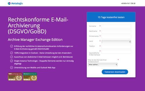 Screenshot of Landing Page metalogix.com - Archive Manager Exchange Edition | Metalogix - captured Nov. 10, 2017