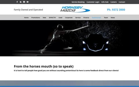 Screenshot of Testimonials Page hornsbymazda.com.au - Testimonials: Hornsby Mazda Sydney Australia - captured May 22, 2017