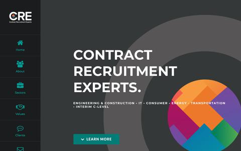 Screenshot of Home Page contract-recruitment.com - CRE – Contract Recruitment Experts – Contract recruitment agency with over 25 years experience, supplying temporary staff across Construction, Engineering, IT, Energy, Consumer and Transportation - captured July 21, 2018