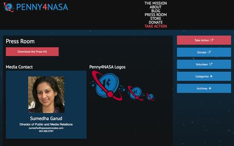 Screenshot of Press Page penny4nasa.org - Press Room | Penny4NASA - captured Sept. 29, 2014
