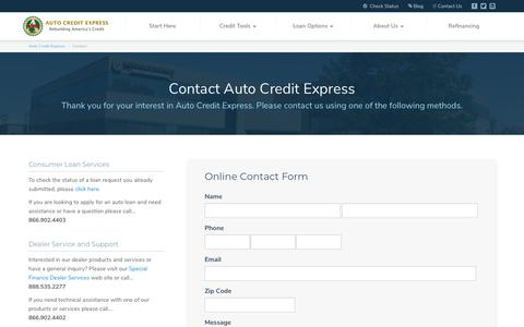 Screenshot of Contact Page autocreditexpress.com - Contact Auto Credit Express for Additional Financial Assistance - captured March 2, 2018