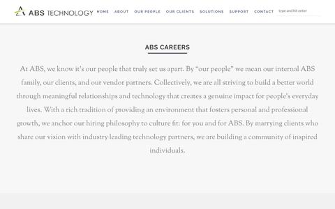 Screenshot of Jobs Page abstechnology.com - Careers | Cisco Service, Enterprise Networking & Unified Communications | ABS Technology - captured July 8, 2018