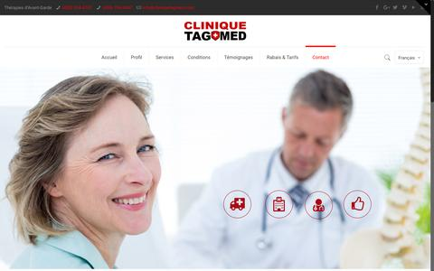 Screenshot of Contact Page cliniquetagmed.com - Contact - Clinique TAGMED | Clinique TAGMED - captured May 18, 2017