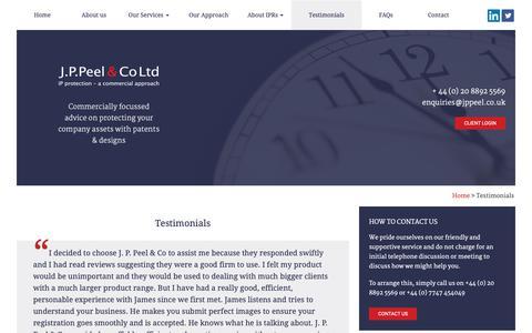 Screenshot of Testimonials Page jppeel.co.uk - J.P.Peel & Co Ltd - Testimonials - captured Nov. 11, 2018
