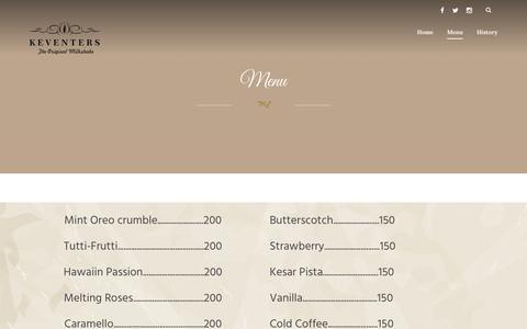 Screenshot of Menu Page keventers.com - Menu Đ Keventers - captured Jan. 9, 2016