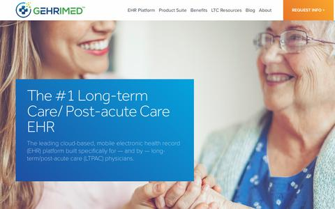 Screenshot of Home Page gehrimed.com - The #1 Long-Term Care EHR | Cloud-Based LTPAC EHR | GEHRIMED - captured March 11, 2018