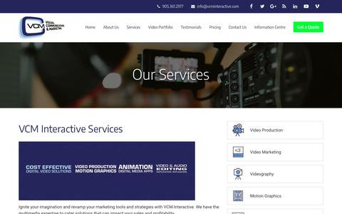 Screenshot of Services Page vcminteractive.com - Production Company Toronto | Video Production, Corporate Video Production, Digital media, E-learning, 3D Animation | VCM Interactive - captured Oct. 18, 2018