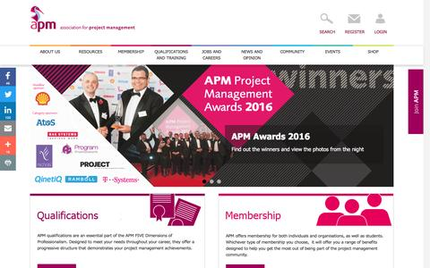 Screenshot of Home Page apm.org.uk - Association for Project Management | The professional body for project management - captured Dec. 3, 2016
