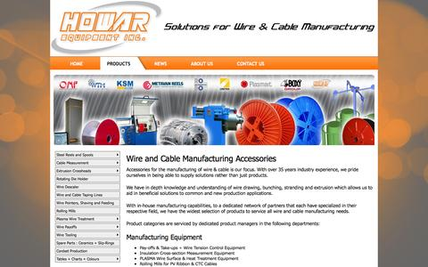 Screenshot of Products Page howarequipment.com - Products - HOWAR Equipment Inc. - captured Oct. 3, 2014