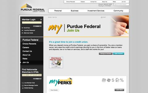 Screenshot of Signup Page purduefed.com - Join Us | Purdue Federal Credit Union - captured Sept. 22, 2014
