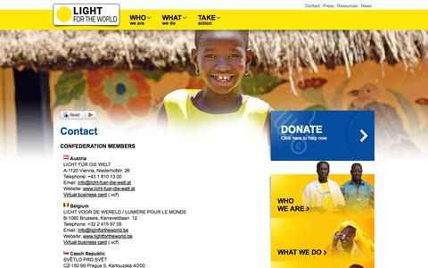 Screenshot of Contact Page light-for-the-world.org - Contact - LIGHT FOR THE WORLD - captured Sept. 26, 2014