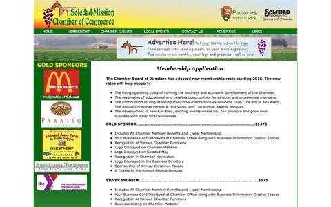 Screenshot of Signup Page barryhoward.net - Soledad Chamber Application Form - captured Dec. 30, 2015