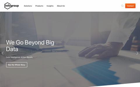 Screenshot of Home Page infogroup.com - Home - Infogroup - captured July 12, 2019