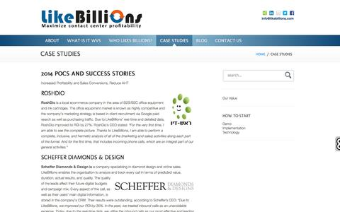 Screenshot of Case Studies Page likebillions.com - Case Studies | LikeBillions - captured July 6, 2016