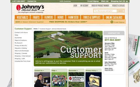 Screenshot of Support Page johnnyseeds.com - Customer Support - Johnny's Selected Seeds - captured Sept. 18, 2014