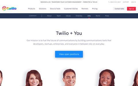 Screenshot of Jobs Page twilio.com - Twilio - Jobs for DOers - captured June 13, 2019