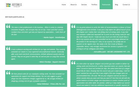 Screenshot of Testimonials Page artowls.com - Testimonials - ArtOwls - The Creative Graphic Design Studio - captured Feb. 6, 2016