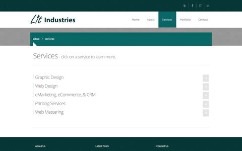 Screenshot of Services Page litind.com - Lit Industries Services - captured Oct. 2, 2014
