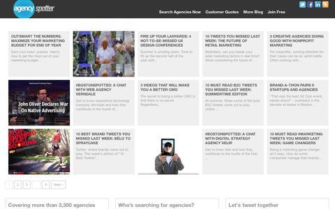 Screenshot of Blog agencyspotter.com - Discover the world of creative agencies, design firms + beyond | Agency Spotter Blog - captured Sept. 11, 2014