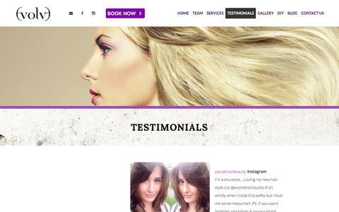 Screenshot of Testimonials Page evolvesalon.ca - Testimonials | Evolve Salon - Hair Studio Toronto - captured Feb. 1, 2016