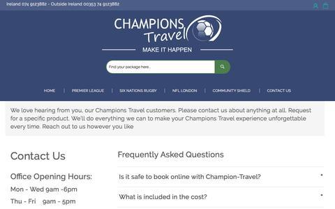 Screenshot of FAQ Page champions-travel.com - Contact Us - captured July 17, 2018