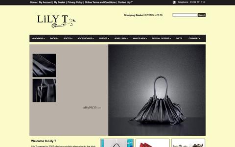 Screenshot of Home Page lily-t.com - Home | Handbags | Shoes | Accessories| Purses | Jewellery | Gifts | Lily T Limited - captured Sept. 4, 2015