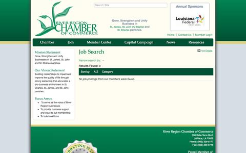 Screenshot of Jobs Page riverregionchamber.org - Job Search - River Region Chamber of Commerce, LA - captured Dec. 1, 2016