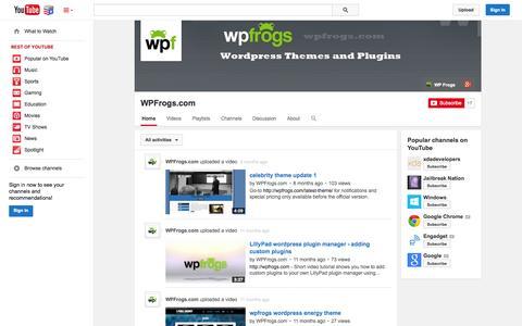 Screenshot of YouTube Page youtube.com - WPFrogs.com  - YouTube - captured Nov. 5, 2014