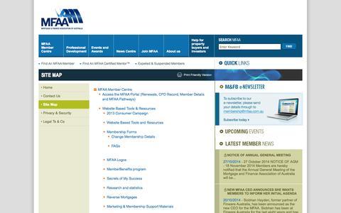 Screenshot of Site Map Page mfaa.com.au - MFAA - Site Map - captured Oct. 30, 2014