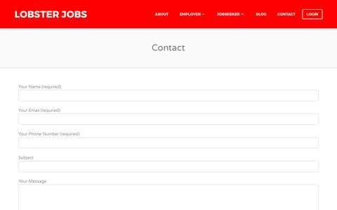 Screenshot of Contact Page lobsterjobs.co.uk - Contact - Lobster Jobs - captured May 22, 2017
